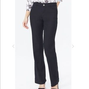 NYDJ's Linen Trouser Pants in Stretch Black 0P